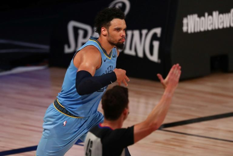 Dillon Brooks of Memphis celebrates a three-point shot in the Grizzlies NBA win over the Milwaukee Bucks