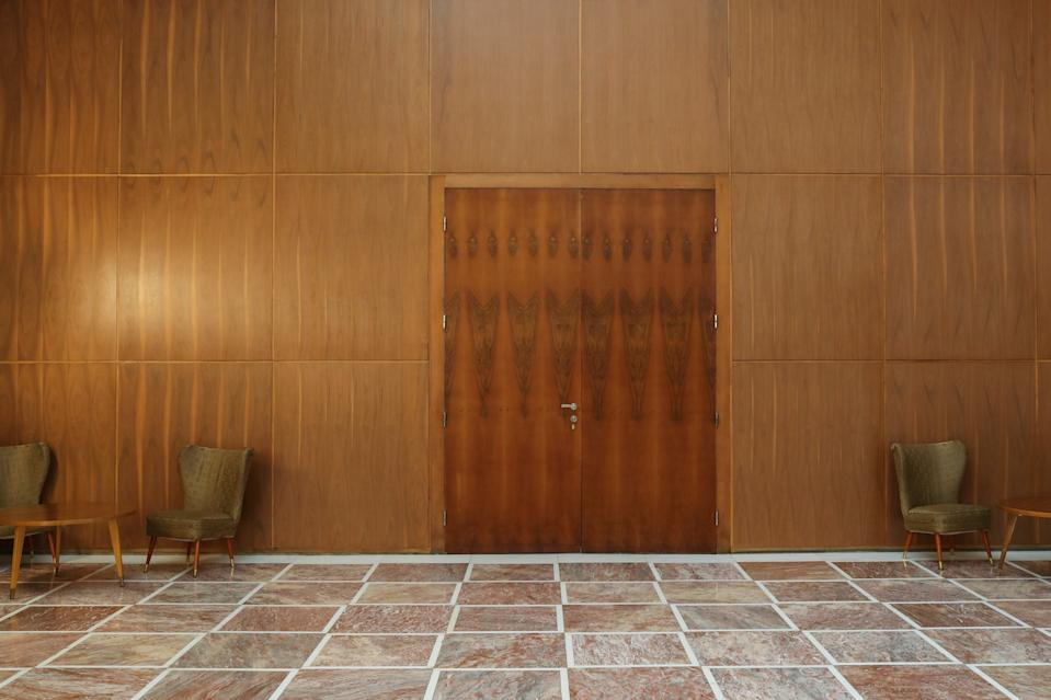 """A door leads into the Yugoslavia salon, inside the Palata Srbija building in Belgrade, Serbia. The Palata Srbija building hosted former world leaders. Each of the former Yugoslav republics had its own salon with a central room called the Hall of Yugoslavia. """"It is a shame to keep such a masterpiece away from the eyes of the public,"""" said Sandra Tesla, curator of the building. (Photo: Marko Djurica/Reuters)"""