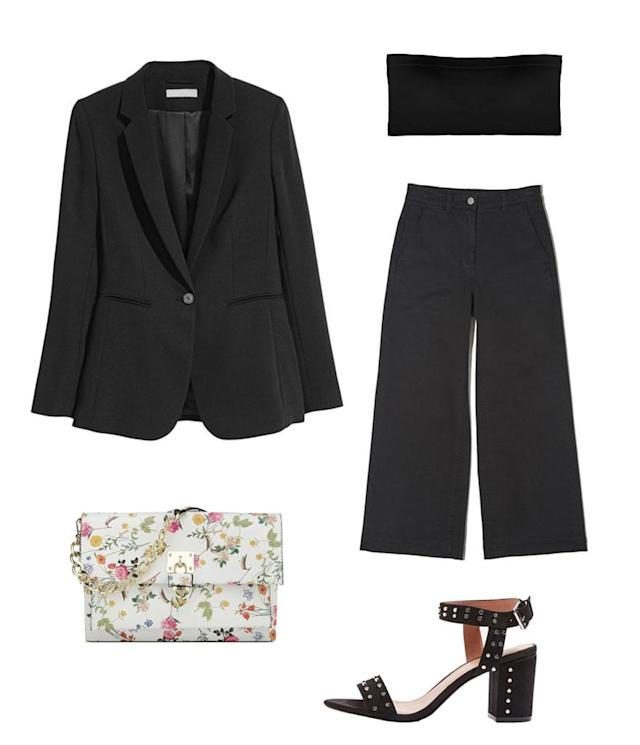 <p>Lim's look can easily be replicated through basics you might already own like a black bandeau and blazer. Choose a wide leg trouser like this one from Everlane and accessorize with a floral handbag and studded heels for a rocker chic look like Lim's. </p>