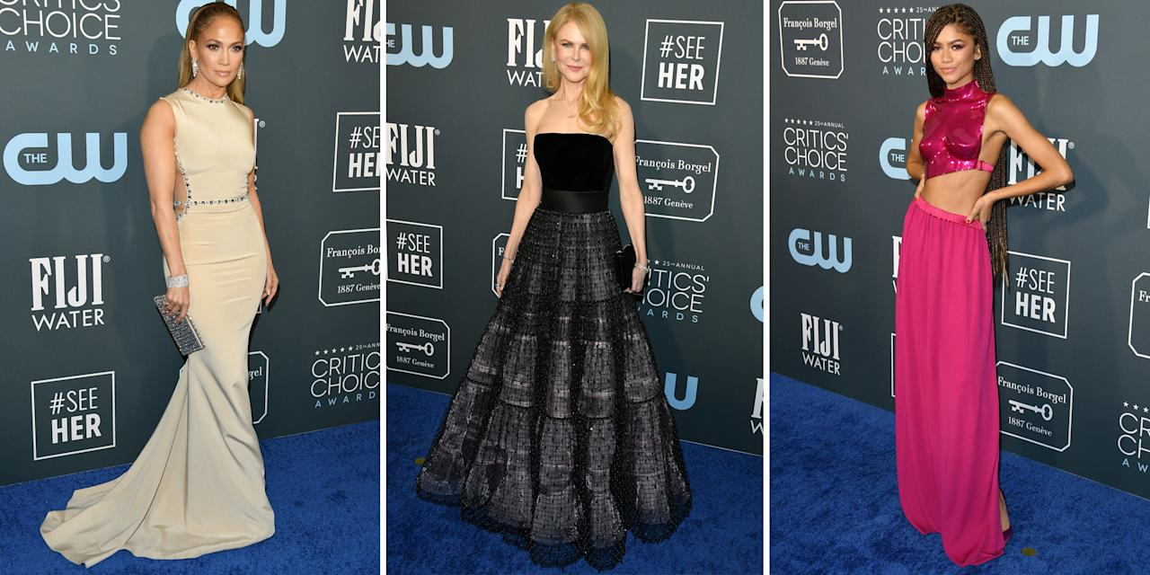 """<p>There was no dearth of glamour and sophistication at last night's 2020 Critics' Choice Awards, which took place at the Barker Hangar in Santa Monica, California. Stars and nominees rocked the red carpet–erm, we mean, the <em>blue</em> carpet–donning jaw-dropping evening gowns, velvet suits, and bright jumpers. From <a href=""""https://www.harpersbazaar.com/celebrity/red-carpet-dresses/a30490789/zendaya-critics-choice-awards-2020/"""" target=""""_blank"""">Zendaya in a hot-pink Tom Ford number</a> to Billy Porter in a teal Hogan McLaughlin pantsuit, we have you covered for the best looks of the night. Flip through to see them all.<em></em></p>"""