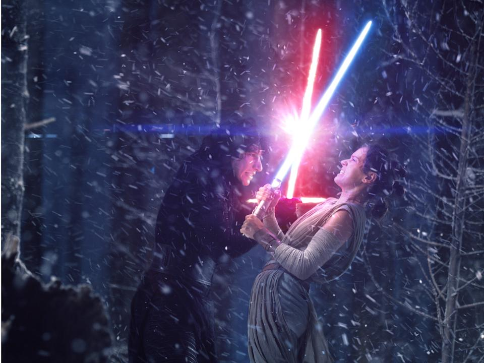 """Kylo Ren and Rey face off in """"The Force Awakens."""""""