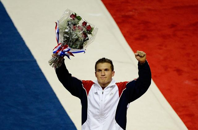 SAN JOSE, CA - JULY 01: Jonathan Horton reacts after being announced to the men's US gymnastics team going to the 2012 London Olympics at HP Pavilion on July 1, 2012 in San Jose, California. (Photo by Ronald Martinez/Getty Images)