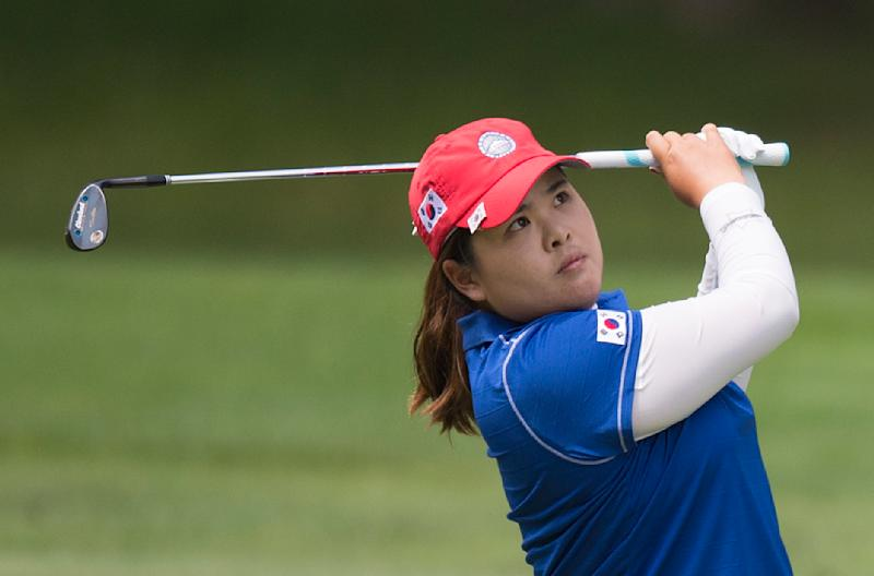 South Korea's Park In-Bee during the third round of the LGPA International Crown in Owings Mills, Maryland on July 26, 2014 (AFP Photo/Jim Watson)
