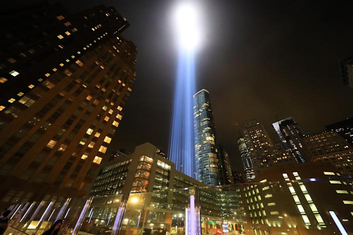 <p>The Tribute in Light rises above the New York City skyline from the entrance of the Battery Tunnel, Sept. 11, 2018. (Photo: Gordon Donovan/Yahoo News) </p>