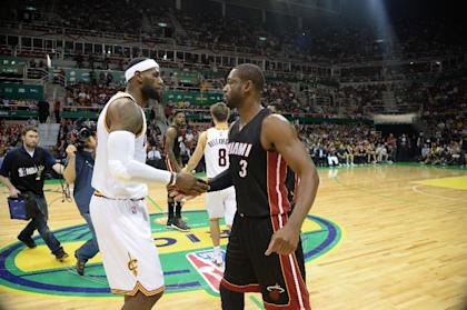 LeBron James (left) and Dwyane Wade made four straight trips to the NBA Finals together. (NBAE/Getty Images)