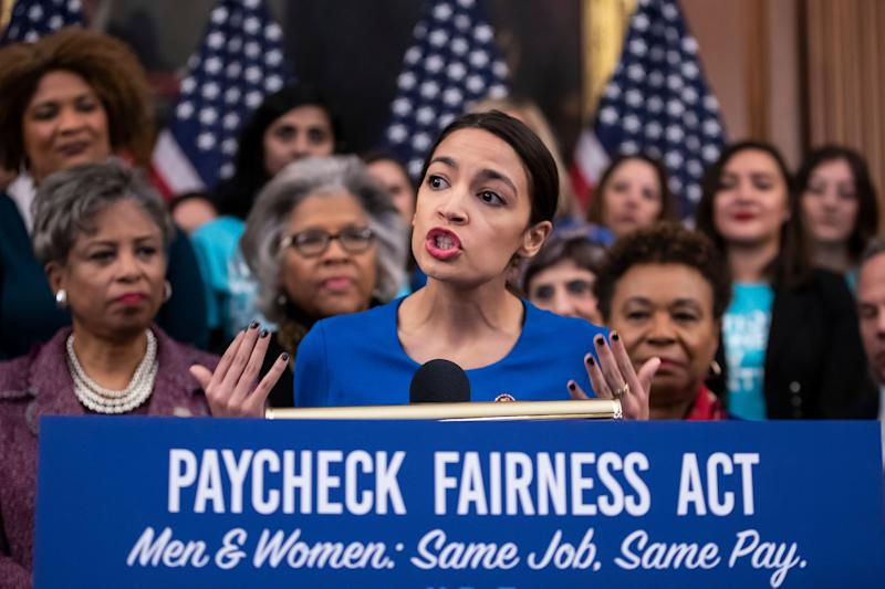 Rep. Alexandria Ocasio-Cortez, D-N.Y., speaks at an event to advocate for the Paycheck Fairness Act on the 10th anniversary of President Barack Obama signing the Lilly Ledbetter Fair Pay Act, at the Capitol in Washington, Wednesday, Jan. 30, 2019. The legislation, a top tier issue for the new Democratic majority in the House, would strengthen the Equal Pay Act of 1963 and guarantee that women can challenge pay discrimination and hold employers accountable.(AP Photo/J. Scott Applewhite)