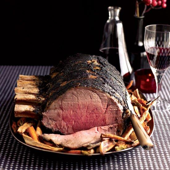 """<p>Coffee and prime rib seem like unlikely partners, but Ryan Farr's recipe reveals they both have an earthy quality that makes them a natural match. Just be sure to scrape off any excess coffee rub from the meat before serving.</p><p><a href=""""https://www.foodandwine.com/recipes/three-ingredient-prime-rib-roast"""">GO TO RECIPE</a></p>"""
