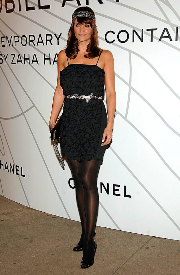"Helena Christensen dons a flapper-inspired frock for the fashion fete. Jamie McCarthy/<a href=""http://www.wireimage.com"" target=""new"">WireImage.com</a> - October 21, 2008"