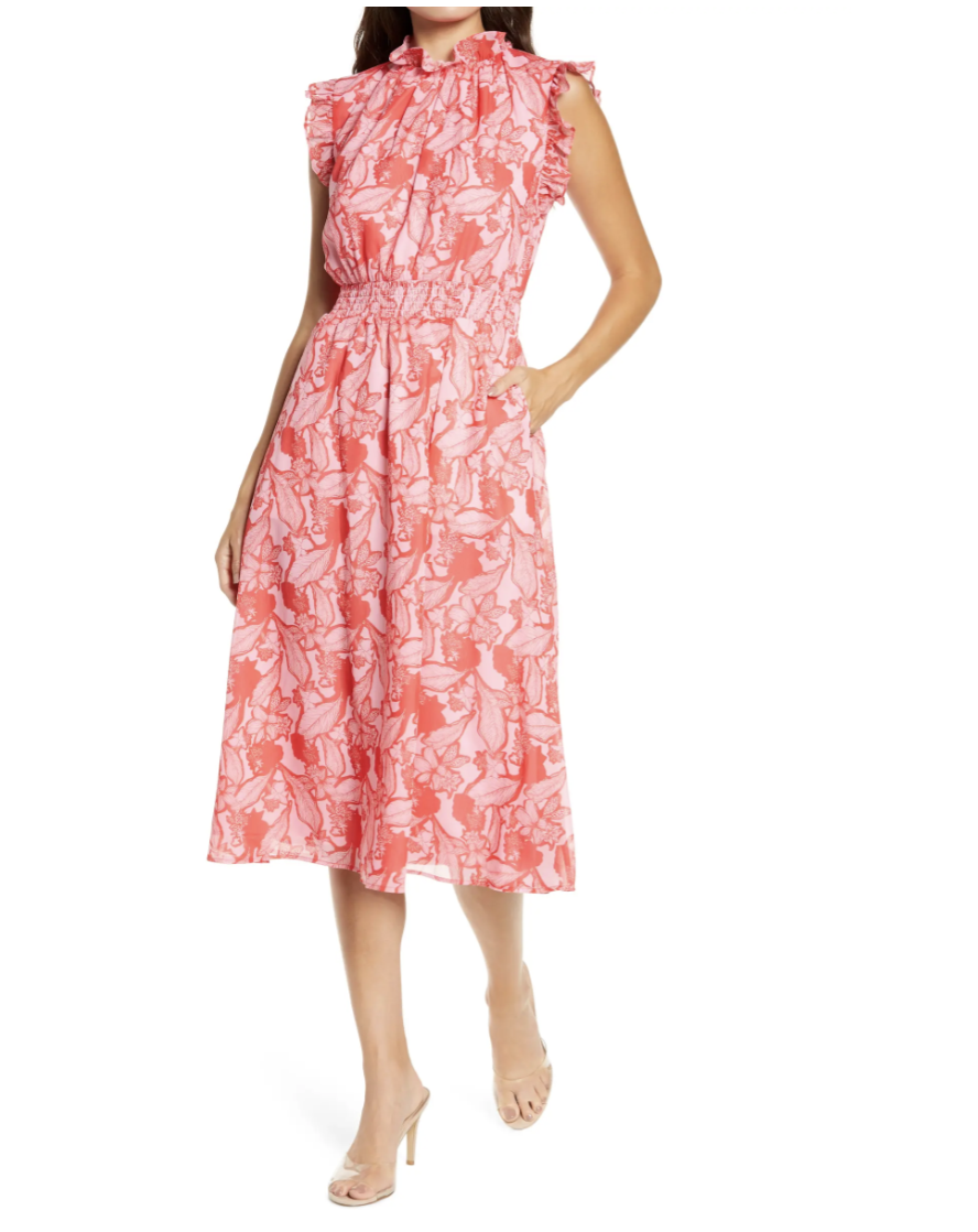 Chelsea28 Floral Ruffle Trim Midi Dress- Nordstrom, $50 (originally $129)