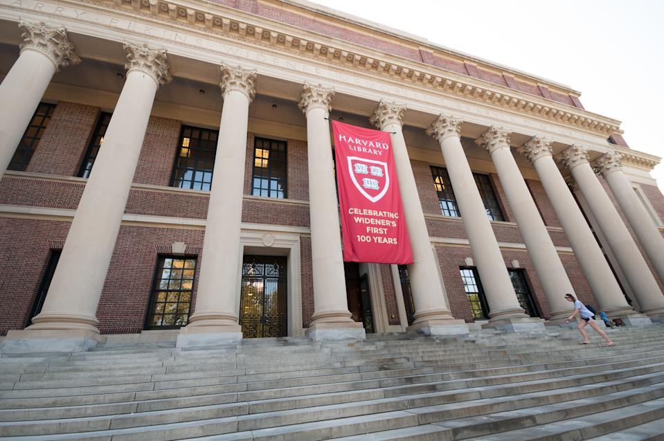 Boston, Massachusetts, USA - September 5, 2015: Picture of the Harvard Widener Library on Harvard Campus in Cambridge, one of the most famous university's libraries.
