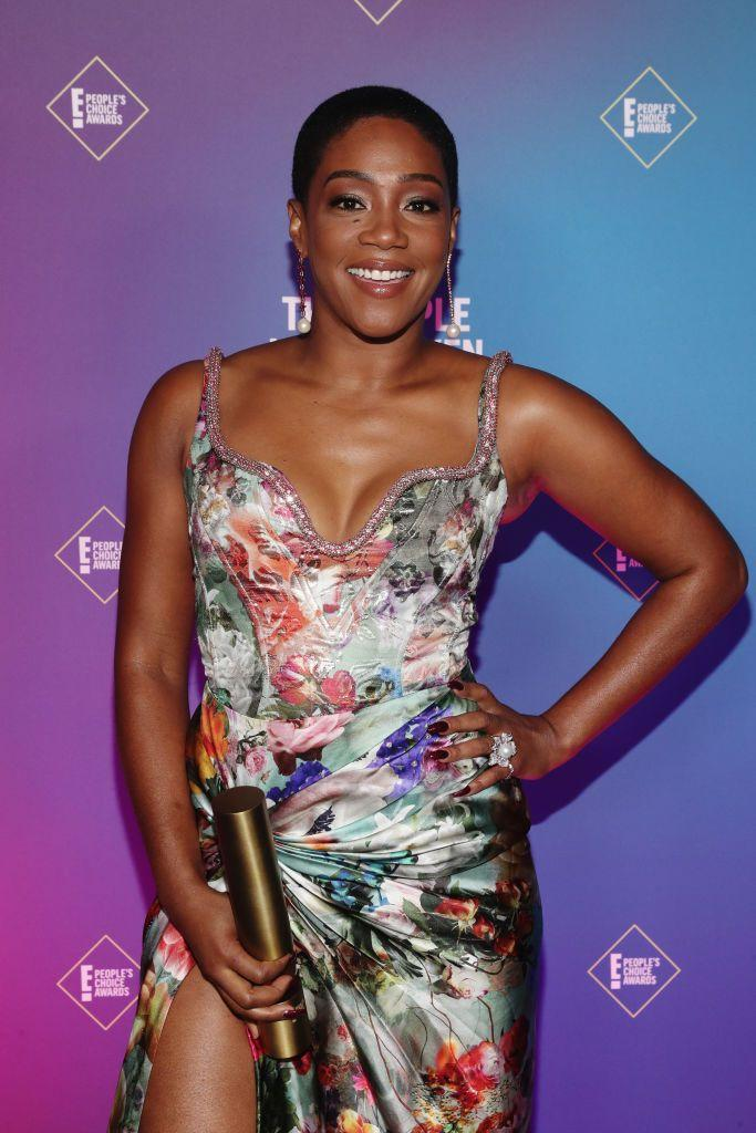 """<p>In the year of social distancing and Zoom calls, heat-free, short styles were more popular than ever, and Tiffany Haddish was a leader in the trend when she <a href=""""https://www.marieclaire.com/beauty/a29504783/tiffany-haddish-hair-buzzcut/"""" rel=""""nofollow noopener"""" target=""""_blank"""" data-ylk=""""slk:debuted a buzz cut in July"""" class=""""link rapid-noclick-resp"""">debuted a buzz cut in July</a>.<br></p>"""