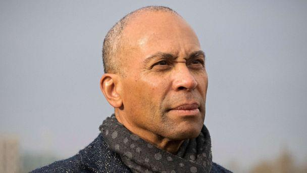 PHOTO: Former Massachusetts governor and Democratic candidate for president Deval Patrick listens to Iowa state Senator Rob Hogg speak in Cedar Rapids, Iowa, Nov. 18, 2019. (Jeff Topping/Polaris via Newscom)