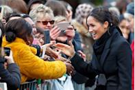 """<p>In an effort to prevent fraud, the royal family is encouraged to decline all requests for signatures. Meghan broke this long-standing rule when <a href=""""https://www.marieclaire.com/celebrity/a15397010/meghan-markle-broke-royal-protocol-signature-autograph/"""" rel=""""nofollow noopener"""" target=""""_blank"""" data-ylk=""""slk:she signed an autograph for a young fan"""" class=""""link rapid-noclick-resp"""">she signed an autograph for a young fan</a> in Wales.</p>"""