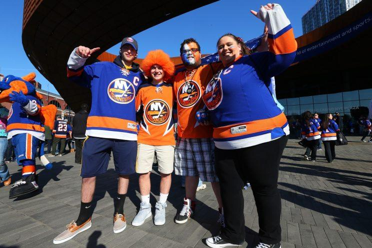 NEW YORK, NY - APRIL 24: Fans gather in the plaza prior to the game between the New York Islanders and the Florida Panthers in Game Six of the Eastern Conference First Round during the NHL 2016 Stanley Cup Playoffs at the Barclays Center on April 24, 2016 in Brooklyn borough of New York City. (Photo by Mike Stobe/NHLI via Getty Images)
