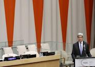 U.S. Secretary of State John Kerry speaks at a high-level meeting on addressing large movements of refugees and migrants at the United Nations General Assembly in Manhattan, New York, U.S., September 19, 2016. REUTERS/Lucas Jackson