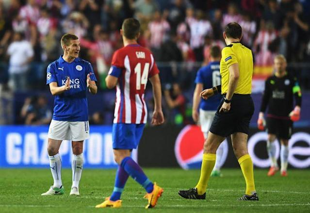 Marc Albrighton makes his feelings clear to the referee after conceding a penalty