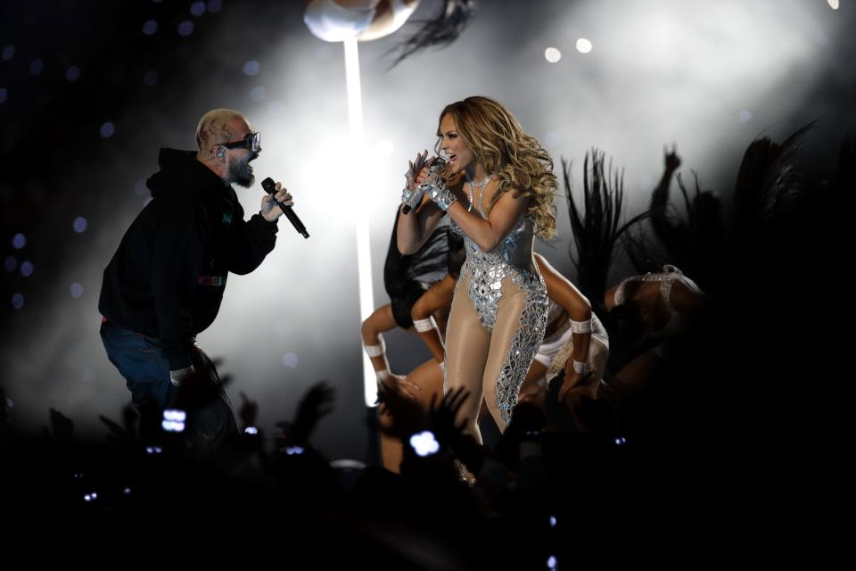 Jennifer Lopez performs during halftime of the NFL Super Bowl 54 football game between the Kansas City Chiefs and the San Francisco 49ers Sunday, Feb. 2, 2020, in Miami Gardens, Fla. (AP Photo/Patrick Semansky)