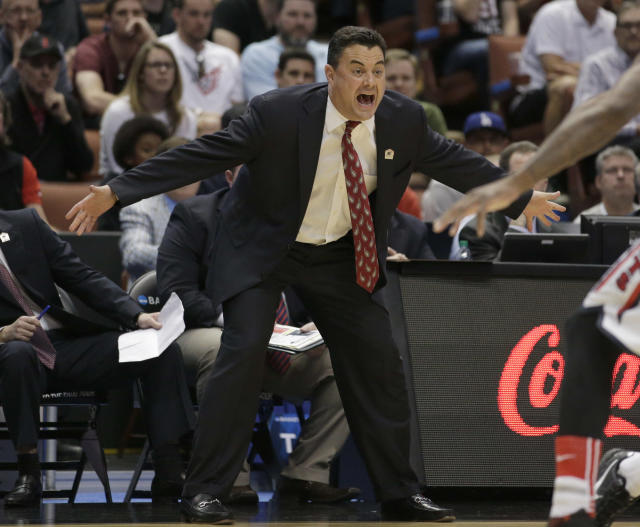 Arizona coach Sean Miller yells during the first half against San Diego State in an NCAA men's college basketball tournament regional semifinal, Thursday, March 27, 2014, in Anaheim, Calif. (AP Photo/Jae C. Hong)