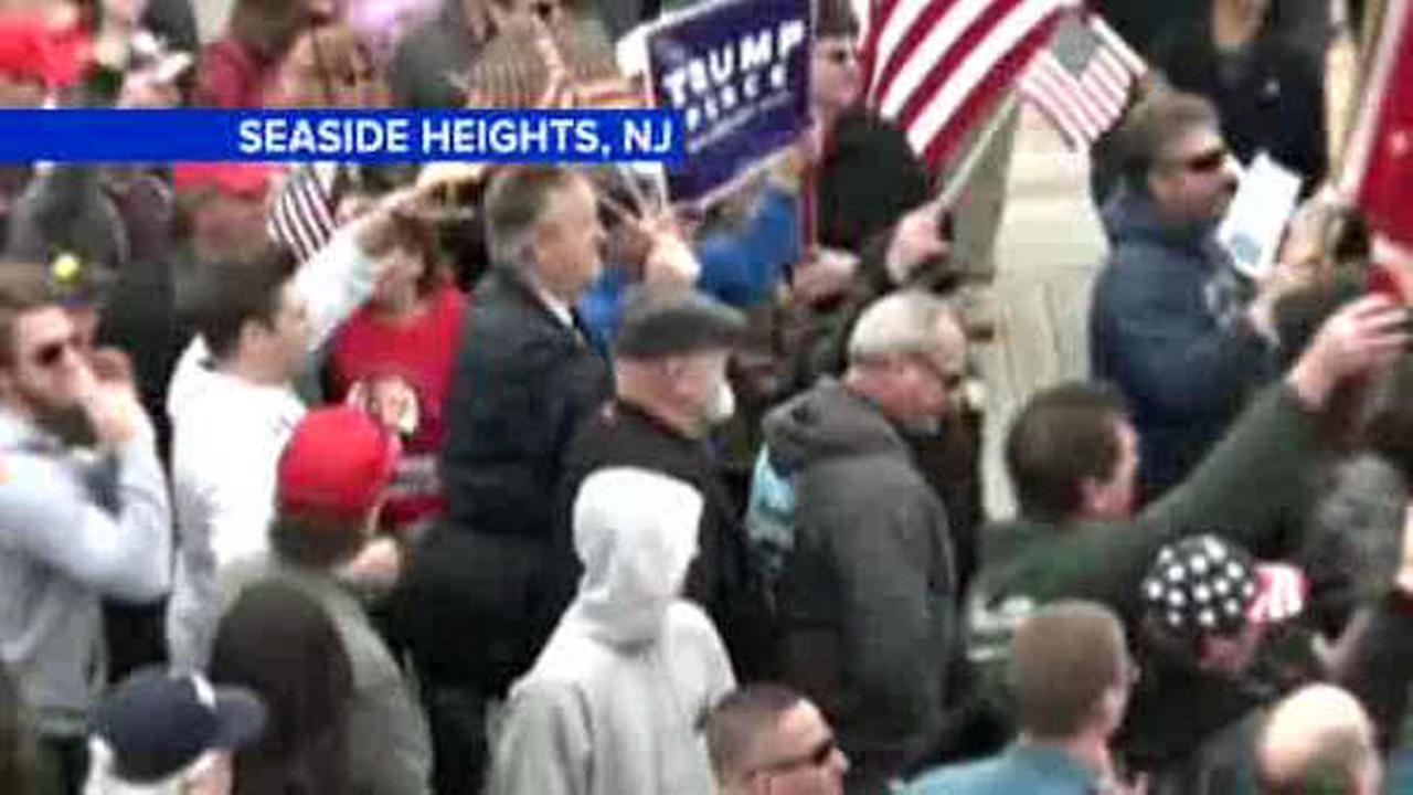 "Hundreds of President Donald Trump's supporters rallied Saturday at the Jersey shore, vowing their help in ""making America great again."""