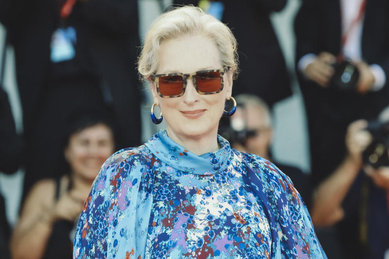 "VENICE, ITALY - SEPTEMBER 01: Meryl Streep walks the red carpet ahead of the ""The Laundromat"" screening during the 76th Venice Film Festival at Sala Grande on September 01, 2019 in Venice, Italy. (Photo by Laurent KOFFEL/Gamma-Rapho via Getty Images)"