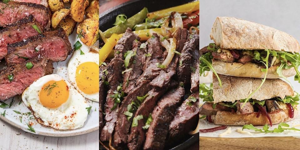 """<p>Whether it's a sizzling plate of <a href=""""https://www.delish.com/uk/cooking/recipes/a35582675/sizzling-steak-fajitas-recipe/"""" rel=""""nofollow noopener"""" target=""""_blank"""" data-ylk=""""slk:Steak Fajitas"""" class=""""link rapid-noclick-resp"""">Steak Fajitas</a>, a piled-high <a href=""""https://www.delish.com/uk/cooking/recipes/a36445687/steak-sandwich/"""" rel=""""nofollow noopener"""" target=""""_blank"""" data-ylk=""""slk:Steak Sandwich"""" class=""""link rapid-noclick-resp"""">Steak Sandwich</a> or a comforting slice of <a href=""""https://www.delish.com/uk/cooking/recipes/a30148153/steak-and-kidney-pie/"""" rel=""""nofollow noopener"""" target=""""_blank"""" data-ylk=""""slk:Steak And Kidney Pie"""" class=""""link rapid-noclick-resp"""">Steak And Kidney Pie</a>, there's nothing quite like having steak for dinner. Easy to cook (once you get the hang of how you like it), super versatile and a great ingredient for 'jazzing' basic mealtimes up, we can't help but love ourselves a good steak recipe.</p><p>Not quite sure where to start? With everything from <a href=""""https://www.delish.com/uk/cooking/recipes/a30311517/creamy-steak-fettuccine-recipe/"""" rel=""""nofollow noopener"""" target=""""_blank"""" data-ylk=""""slk:Creamy Steak Fettuccine"""" class=""""link rapid-noclick-resp"""">Creamy Steak Fettuccine</a> to <a href=""""https://www.delish.com/uk/cooking/recipes/a35261967/balsamic-steak-roll-ups-recipe/"""" rel=""""nofollow noopener"""" target=""""_blank"""" data-ylk=""""slk:Balsamic Steak Roll Ups"""" class=""""link rapid-noclick-resp"""">Balsamic Steak Roll Ups</a>, we've got plenty of delicious steak recipes for you to give ago. </p>"""