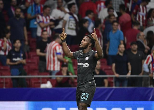 Chelsea's Michy Batshuayi celebrates after scoring during their UEFA Champions League Group C match against Atletico Madrid, at the Metropolitan stadium in Madrid, on September 27, 2017 (AFP Photo/PIERRE-PHILIPPE MARCOU)