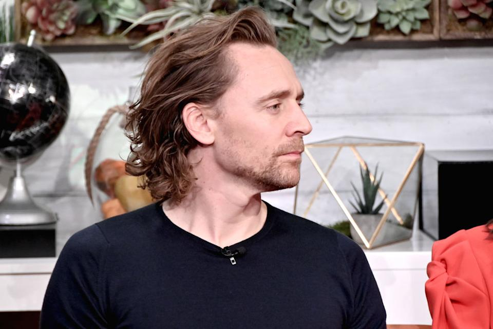 """NEW YORK, NEW YORK - NOVEMBER 07: (EXCLUSIVE COVERAGE) Actor Tom Hiddleston visits BuzzFeed's """"AM To DM' to discuss the Broadway show """"Betrayal"""" on November 07, 2019 in New York City. (Photo by Gary Gershoff/Getty Images)"""