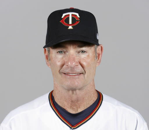 FILE - This is a 2018 file photo showing Paul Molitor of the Minnesota Twins baseball team. The Twins announced Tuesday, Oct. 2, 2018, that Molitor will not return as manager in 2019. Molitor has been offered a position to stay with the organization in a Baseball Operations capacity and will consider the offer. (AP Photo/John Minchillo, File)