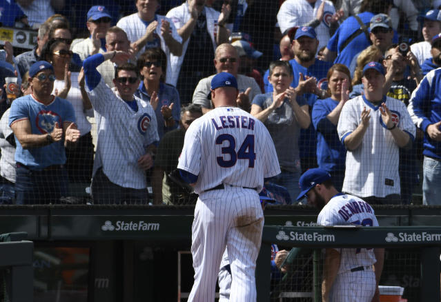 Chicago Cubs starting pitcher Jon Lester (34) leaves the game against the Pittsburgh Pirates during the third inning of a baseball game, Monday, April 8, 2019, in Chicago. (AP Photo/David Banks)