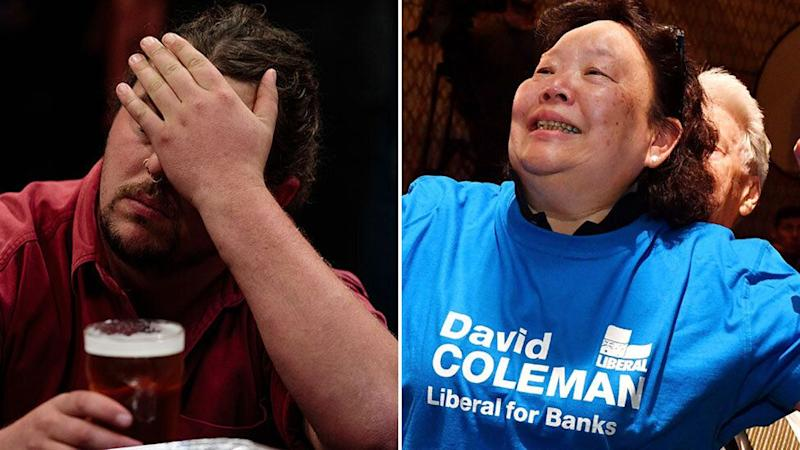 Labor and Liberal volunteers respond with grief and joy to the Coalition's success. Source: AAP