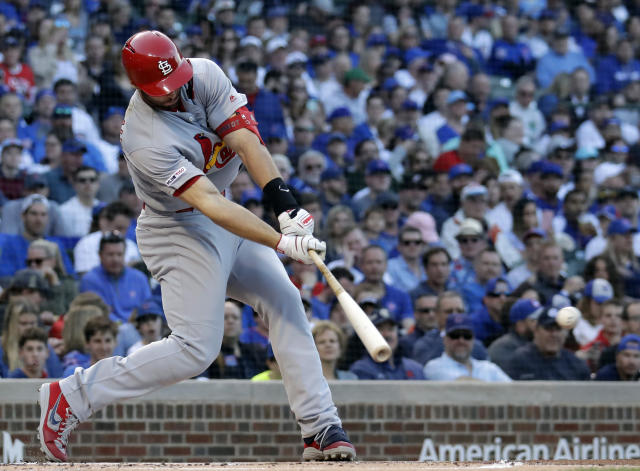 St. Louis Cardinals' Paul Goldschmidt hits a single against the Chicago Cubs during the first inning of a baseball game Sunday, May 5, 2019, in Chicago. (AP Photo/Nam Y. Huh)