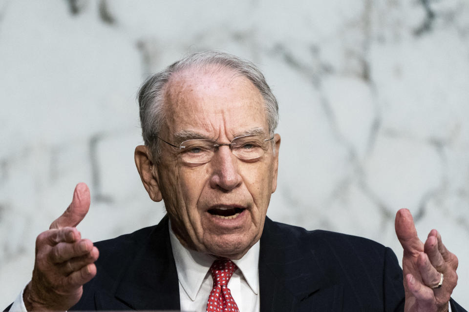 Sen. Chuck Grassley, R-Iowa, speaks during the confirmation hearing for Supreme Court nominee Amy Coney Barrett, before the Senate Judiciary Committee, Wednesday, Oct. 14, 2020, on Capitol Hill in Washington. (Erin Schaff/The New York Times via AP, Pool)
