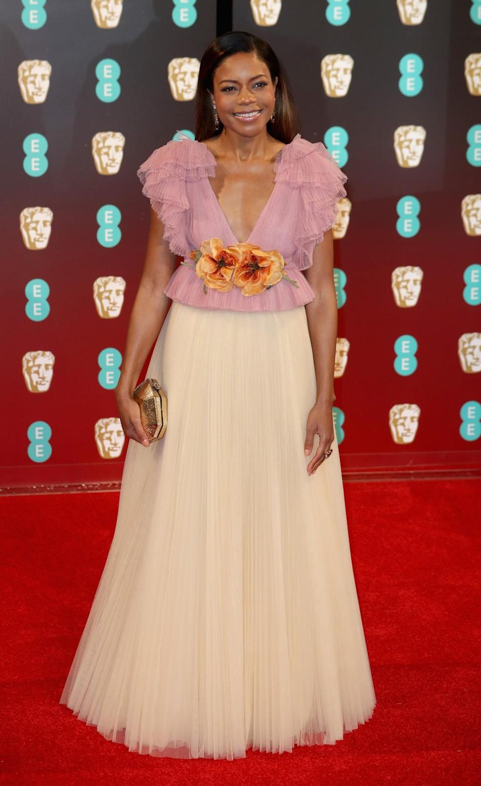 <p>Naomie's lilac and nude ruffled Gucci gown was a definite talking point. <i>[Photo: Getty]</i> </p>