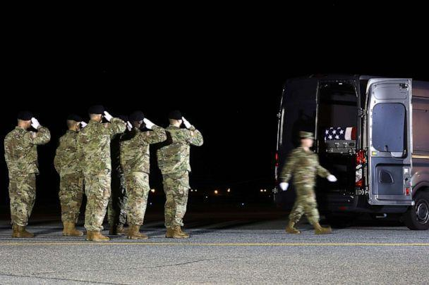 PHOTO: A U.S. Army carry team salutes after loading the remains of U.S. Army Sgt. Maj. James G. Sartor into a mortuary van during a dignified transfer at Dover Air Force Base, July 15, 2019, in Dover, Delaware. (Mark Wilson/Getty Images, FILE)