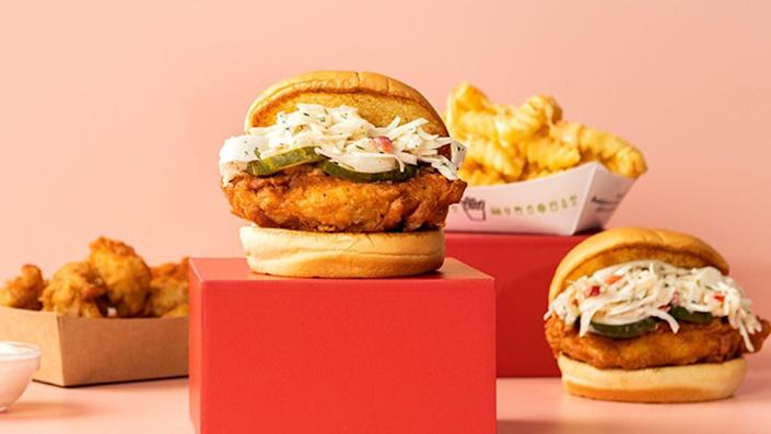 """<p>While Shake Shack's burgers are hard to beat, their latest <a href=""""https://www.shakeshack.com/2020/09/01/just-landed-hot-chickn-is-back/"""" rel=""""nofollow noopener"""" target=""""_blank"""" data-ylk=""""slk:Hot Chick'n Sandwich"""" class=""""link rapid-noclick-resp"""">Hot Chick'n Sandwich</a> comes pretty close. It's an original sandwich that you won't be able to find anywhere else—their own cooling cherry pepper slaw dusted with guajillo and cayenne pepper blend that took them months to perfect. It's beyond juicy and for those who like it hot, you can order it """"Hot"""" or """"Extra Hot."""" The chicken is made fresh and is slow-cooked sous vide in a buttermilk marinade (a fine dining technique that prevents overcooking).</p>"""