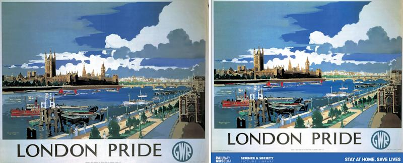 Undated handout image issued by the National Railway Museum and Science and Society Picture Library of an original railway travel poster (left) with a reimagined poster (right) designed to show support for key workers, including those working in the rail industry, the set of ten popular travel posters features vintage artwork with new messages updated to reflect the GovernmentÕs travel advice. PA Photo. Issue date: Friday May 8, 2020. See PA story HEALTH Coronavirus. Photo credit should read: National Railway Museum and Science and Society Picture Library/PA Wire NOTE TO EDITORS: This handout photo may only be used in for editorial reporting purposes for the contemporaneous illustration of events, things or the people in the image or facts mentioned in the caption. Reuse of the picture may require further permission from the copyright holder.