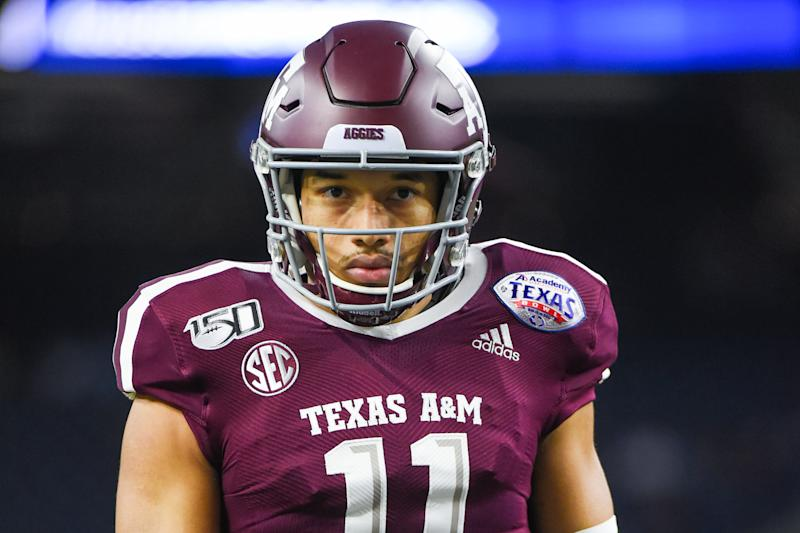 HOUSTON, TX - DECEMBER 27: Texas A&M Aggies quarterback Kellen Mond (11) warms up before the football game between the Oklahoma State Cowboys and Texas A&M Aggies at NRG Stadium on December 27, 2019 in Houston, TX. (Photo by Ken Murray/Icon Sportswire via Getty Images)