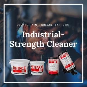 Reinol has been cleaning grime, grease, dirt, oil, epoxies, and inks off industrial workers' hands for more than 100 years. Reinol is a heavy-duty, industrial-strength hand cleaner that is easy on your skin because it is solvent-free.