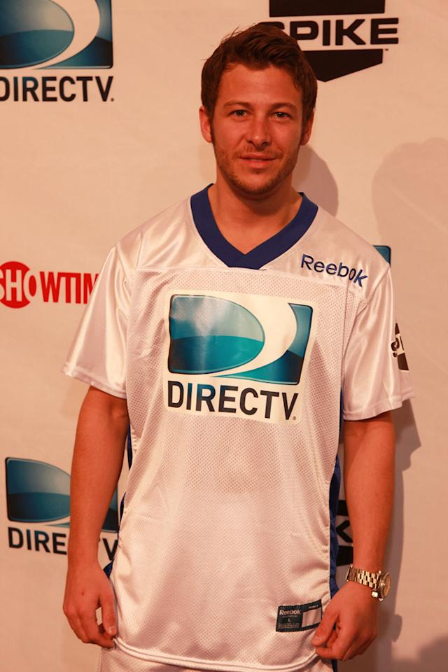 IndyCar driver Marco Andretti arrives at the DirecTV Celebrity Beach Bowl in Indianapolis.