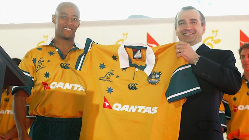 George Gregan and John Borghetti, pictured here during a press conference to announce Qantas as the new naming rights sponsor of the Wallabies in 2004.