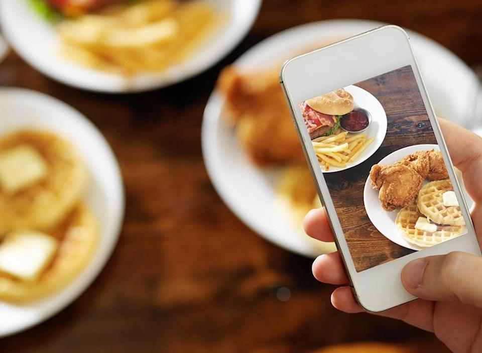 taking photo of food with phone