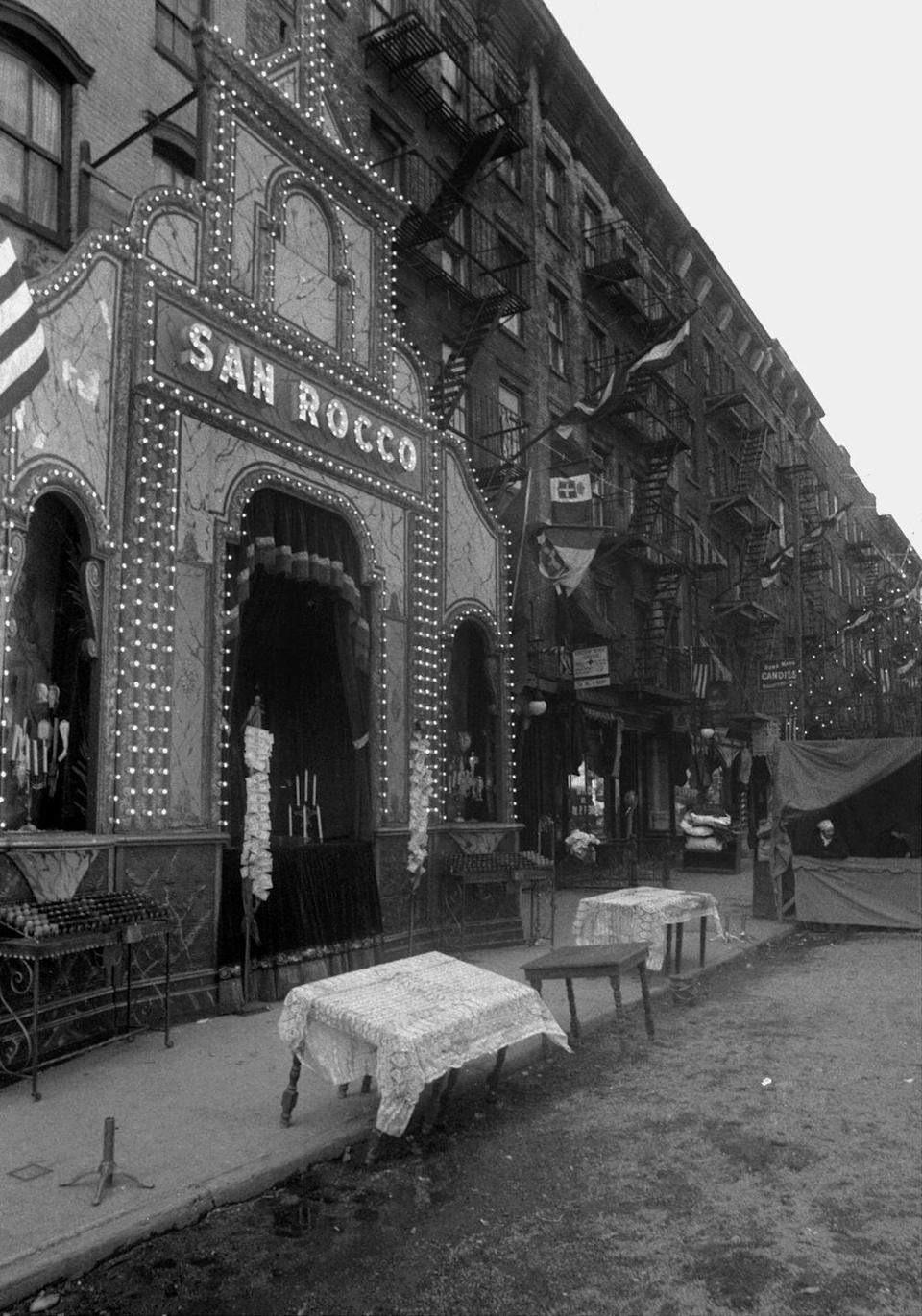 <p>The exterior of the restaurant San Rocco in Little Italy served as the filming location for when Don Vito became the head of the crime family. </p>