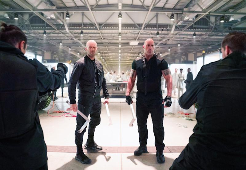 FAST & FURIOUS PRESENTS: HOBBS & SHAW, left to right: Jason Statham, Dwayne Johnson, 2019. ph: Daniel Smith / Universal / Courtesy Everett Collection