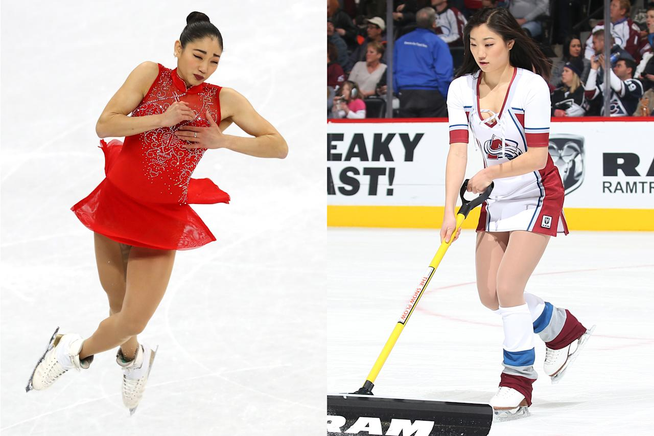 <p>American skating star Mirai Nagasu, 24, was an ice girl for the Colorado Avalanche during the 2015-2016 season. </p>