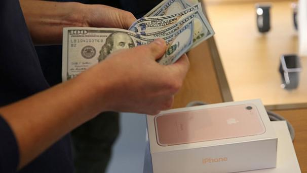"""Apple's annual earnings have dropped for the first time in 15-years. The tech giant has posted its third successive quarter of declining iPhone sales set at 45.million, down 5% from last year.   The silicon valley company still sold $215.6 bn worth of iPhones, watches, Mac computers and other products in the year to September 24.   Apple's Chief Executive Tim Cook  managed to paint a rosy picture saying he was thrilled with the response of customers to the iPhone 7 – especially in China.   But the fact is overall sales were down on last year – admittedly a record one – by 8% .The decline in sales hit the company's profits, which fell 14% to $45.7bn.    Apple's annual revenue fell for the first time since 2001. ReutersGraphics looks at recent iPhone sales: https://t.co/DKUZKykIS2 pic.twitter.com/eJBBGPq9K3— Reuters Top News (Reuters) October 25, 2016   It has to be said the technology crowd is still waiting for some radical new innovation, to prove the company founded by Steve Jobs hasn't lost its creative spark.   Tim Cook wouldn't be drawn when quizzed about moves into TV or building a car or a connected speaker like the Amazon Echo. He did say """"we have the strongest product pipeline we've ever had"""". But that is a line analysts have been hearing for some time.    Apple Profit & Revenue Slide on Slower iPhone Saleshttps://t.co/T4K5Y7OCLh$AAPL $DIA $QQQ $XLK pic.twitter.com/43sYxOC2M3— Apple Reporter ● (@AppleReporter) October 26, 2016"""