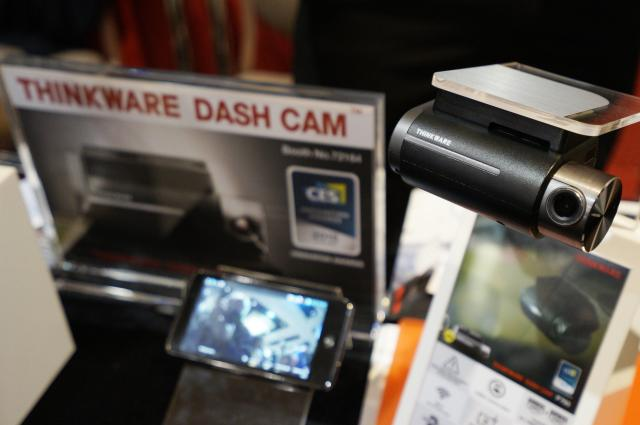 The F750 Thinkware dashboard mounted camera is pictured on display at the International Consumer Electronics show (CES) in Las Vegas, Nevada January 4, 2015. According to Thinkware, the dashboard camera monitors and records driving incidents with built-in FCWS (Frontal Collision Warning System) capabilities. REUTERS/Rick Wilking (UNITED STATES - Tags: BUSINESS SCIENCE TECHNOLOGY TRANSPORT)