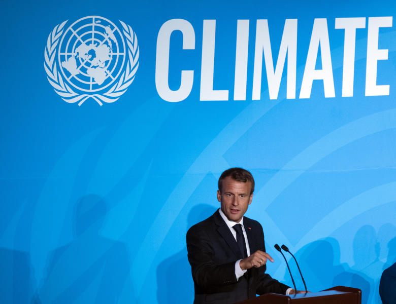 French President Emmanuel Macron addresses the Climate Action Summit in the United Nations General Assembly at U.N. headquarters, Monday, Sept. 23, 2019. (AP Photo/Craig Ruttle)
