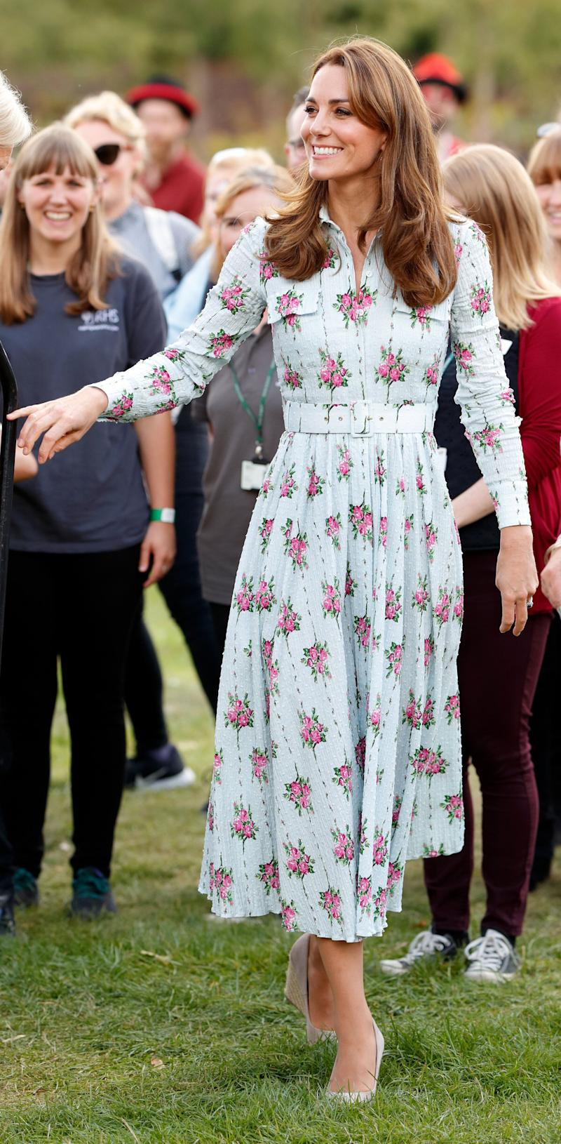 "For the ""Back to Nature"" festival at RHS Garden Wisley in Woking, U.K., Kate opted for a maxi dress by Emilia Wickstead."