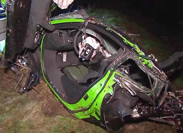 The supercar was destroyed in the crash, which claimed the life of a female passenger (Picture: Central European News)