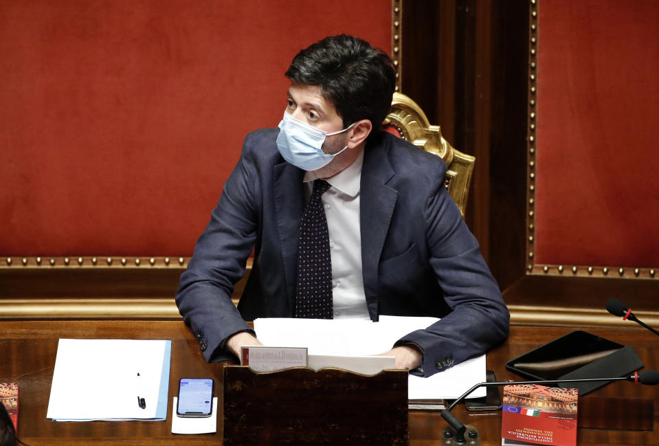 Italian Health Minister Roberto Speranza with surgical mask during the session in the Senate Hall for communications from the President of the Council of Ministers Conte on further initiatives in relation to the epidemiological emergency from Covid-19 (Coronavirus). Rome (Italy), July 28th, 2020 (Photo by Massimo Di Vita/Archivio Massimo Di Vita/Mondadori Portfolio via Getty Images)